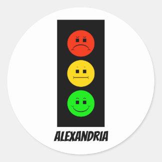 Sticker Rond Feu d'arrêt déprimé personnalisable avec le nom