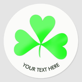 Sticker Rond Feuille chanceuse irlandaise de shamrock