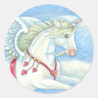 Sticker Rond Feuille d'AUTOCOLLANT de PEGASUS de licorne de