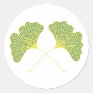 Sticker Rond Feuille de vert de ressort d'arbre de Ginkgo