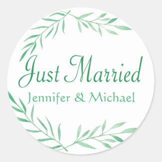 Sticker Rond Feuille marié rustique d'aquarelle de vert juste,