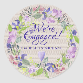 Sticker Rond Fiançailles pourpre de coeurs et de fleurs
