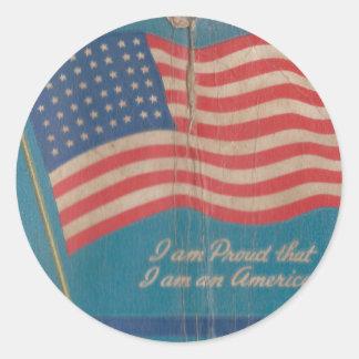 Sticker Rond Fier vintage d'être copie patriotique américaine