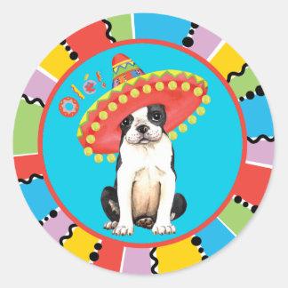 Sticker Rond Fiesta Boston Terrier