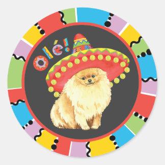 Sticker Rond Fiesta Pomeranian