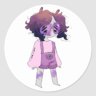 Sticker Rond Fille d'alien de zombi