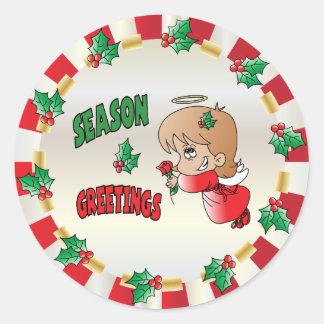 Sticker Rond Fille d'ange de salutation de saison de Noël
