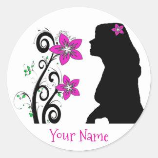 Sticker Rond Fille hawaïenne de silhouette de Plumeria avec