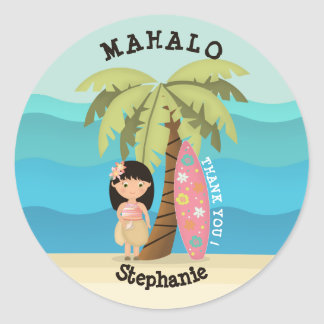 Sticker Rond Fille hawaïenne de surfer