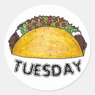 Sticker Rond Fin gourmet de tacos de nourriture de Tex Mex de
