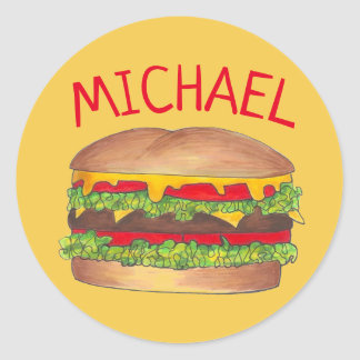 Sticker Rond Fin gourmet personnalisé d'hamburger de