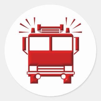 Sticker Rond Firetruck rouge