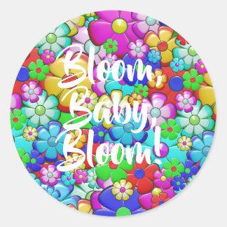 Sticker Rond Fleur, bébé, fleur !