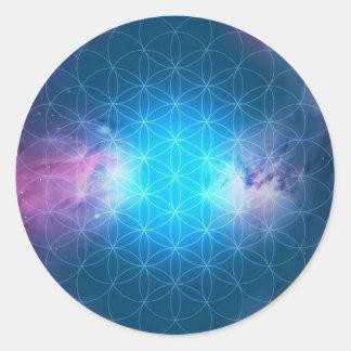 Sticker Rond Fleur cosmique de la vie