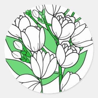 Sticker Rond Fleur de jasmin