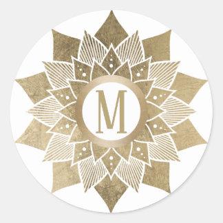Sticker Rond Fleur de Lotus d'or de monogramme élégante