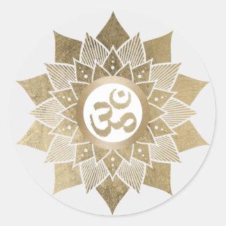 Sticker Rond Fleur de Lotus d'or de symbole de l'OM de yoga