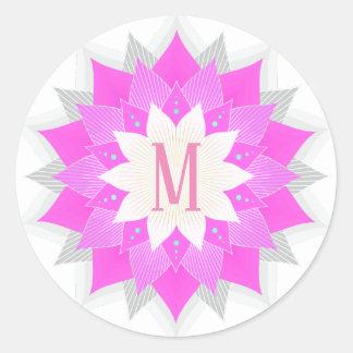 Sticker Rond Fleur de Lotus rose de monogramme élégante