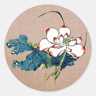 Sticker Rond Fleur de Lotus vintage