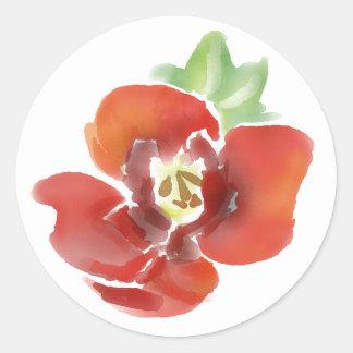 Sticker Rond Fleur de pavot de jour de souvenir, couleur pour