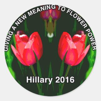 Sticker Rond Fleur de rouge de Hillary Clinton 2016