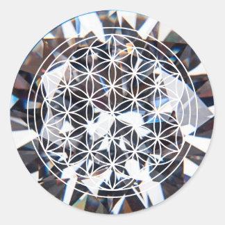 Sticker Rond Fleur en cristal d'autocollant de la vie