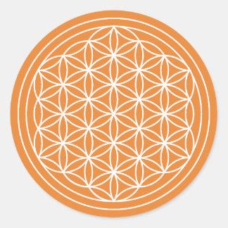 Sticker Rond Fleur orange d'autocollant de la vie