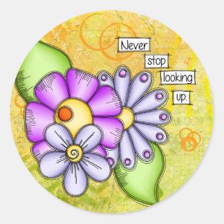 Sticker Rond Fleur positive de griffonnage de pensée de plaisir