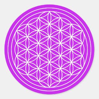 Sticker Rond Fleur pourpre d'autocollant de la vie