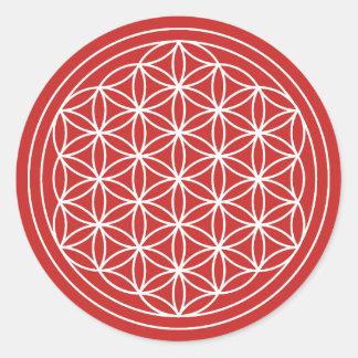 Sticker Rond Fleur rouge d'autocollant de la vie
