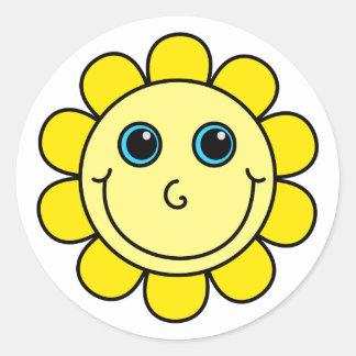 Sticker Rond Fleur souriante jaune de visage