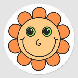Sticker Rond Fleur souriante orange de visage