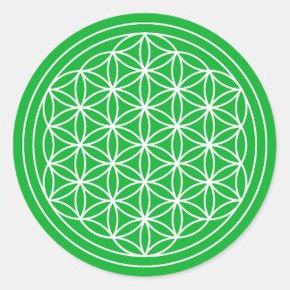 Sticker Rond Fleur verte d'autocollant de la vie