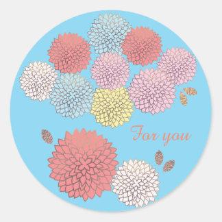 Sticker Rond Fleurs dans l'autocollant de couleurs (arrière -
