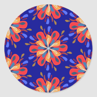 Sticker Rond Fleurs de Starburst en rouge et bleu audacieux