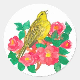 Sticker Rond Fleurs du nord de camélia de clignotement