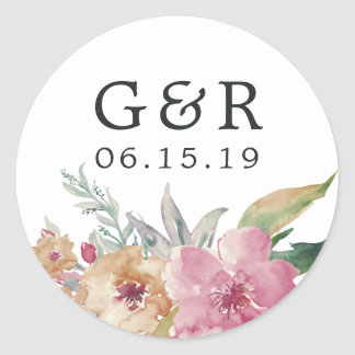 Sticker Rond Fleurs peintes épousant le monogramme et la date