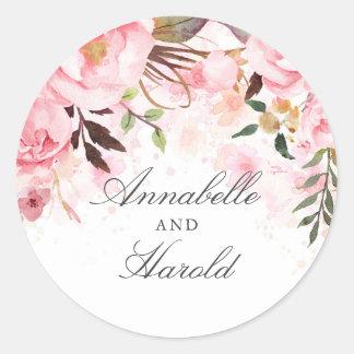 Sticker Rond Fleurs roses d'aquarelle