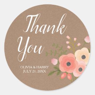 Sticker Rond Fleurs rustiques de Papier d'emballage | épousant