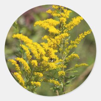 Sticker Rond Fleurs sauvages dorés