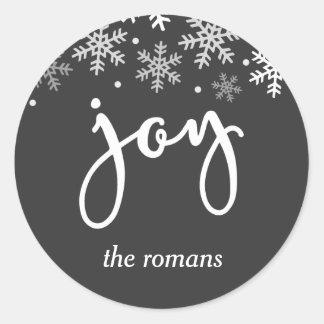 Sticker Rond Flocon de neige de vacances de joie personnalisé