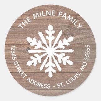 Sticker Rond Flocon de neige en bois rustique - adresse de