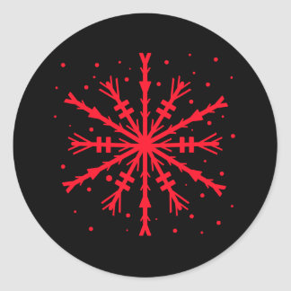 Sticker Rond Flocon de neige rouge de Noël