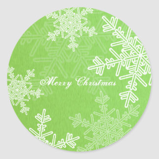 Sticker Rond Flocons de neige Girly de Noël vert et blanc