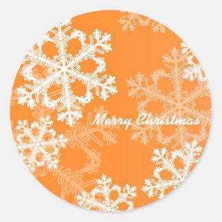 Sticker Rond Flocons de neige mignons de Noël orange et blanc