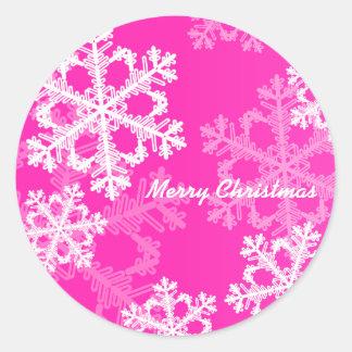Sticker Rond Flocons de neige mignons de Noël rose et blanc
