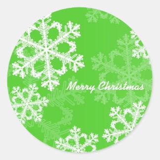 Sticker Rond Flocons de neige mignons de Noël vert et blanc