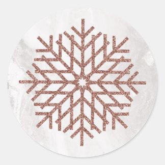 Sticker Rond Flocons de neige roses d'or de Faux d'hiver