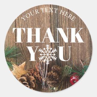 Sticker Rond Flocons de neige rustiques de Merci de Noël