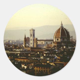 Sticker Rond Florence - une vue à travers la ville au Duomo